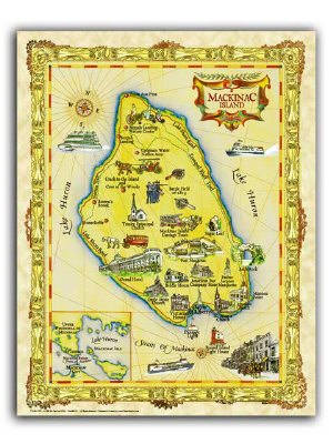"""19.5 x 25/"""" Tobago Vintage Look Map Poster Printed on Frenchtone Parchment Paper"""